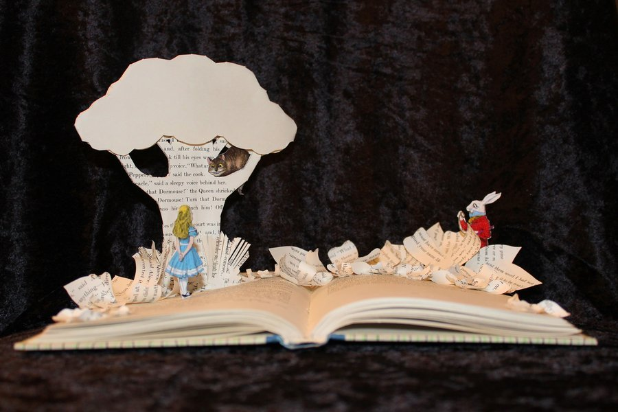 alice wonderland sculpture cool harry potter sculptures books awesome pop altered brown artist jodi story harvey literature 3d storybook adams